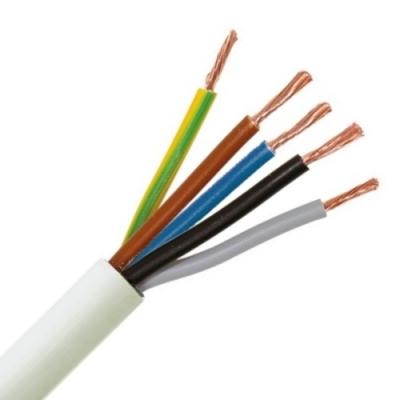 CABLEBEL - H05VV-F VTMB verbindingskabel PVC flexibel gladde mantel 500V wit 5G0,75mm²