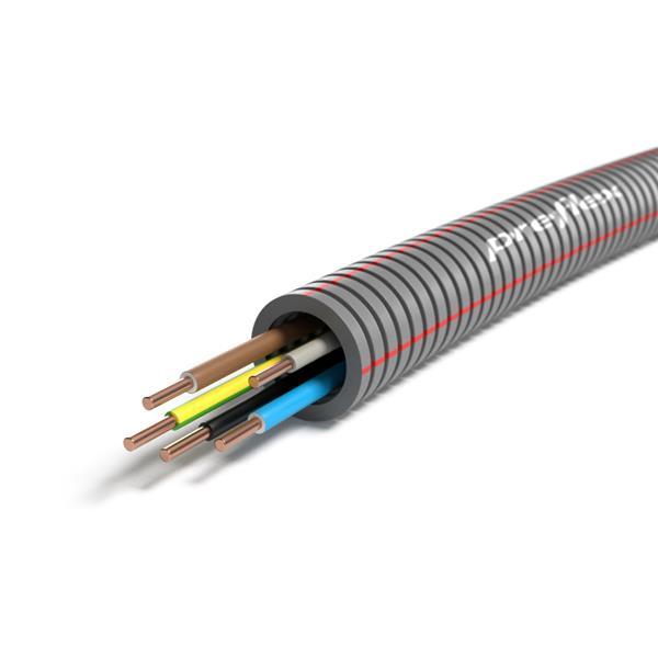 CABLEBEL - Preflex tube précâblé 20mm + VOB 5G2,5mm² rouleau 100m