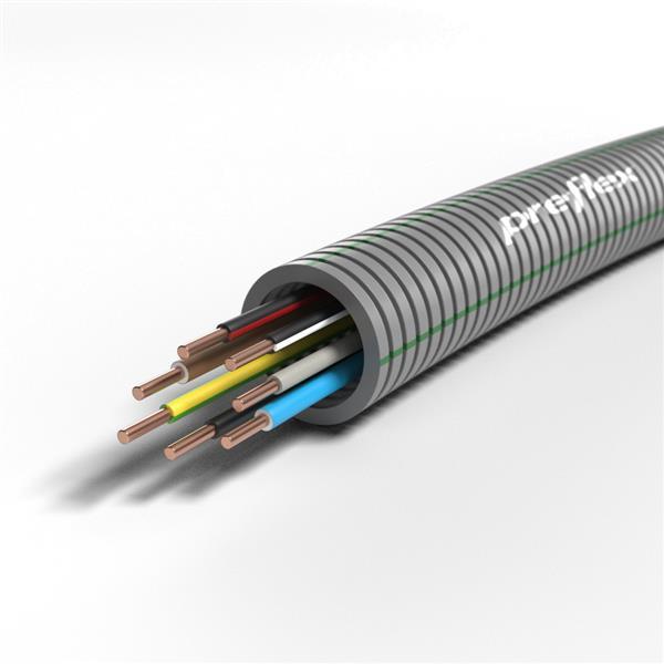 CABLEBEL - Preflex tube précâblé 20mm + VOB 7G1,5mm² rouleau 100m