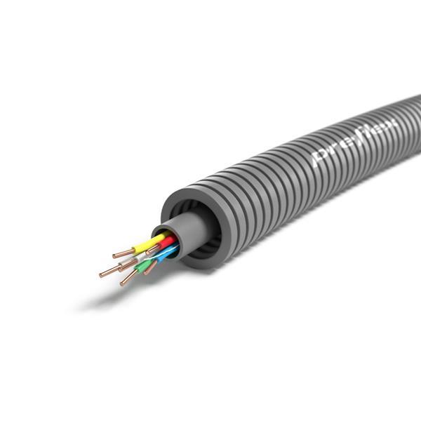 CABLEBEL - Preflex tube précâblé 16mm + SVV 8x0,8mm gris rouleau 100m
