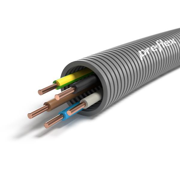 CABLEBEL - Preflex tube précâblé 25mm + VOB 5G6mm² rouleau 50m