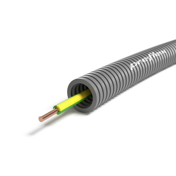 CABLEBEL - Preflex voorbedrade buis 16mm + VOB 6mm² geel/groen rol 100m