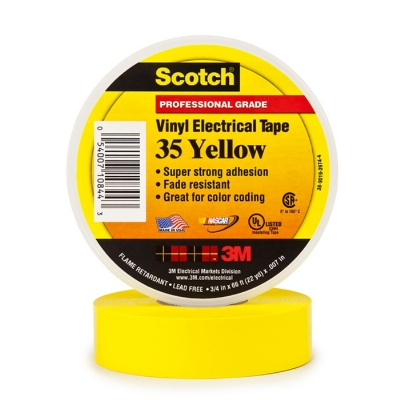 3M - 35 Scotch TM ruban isolant électrique PVC 19mmx20m jaune