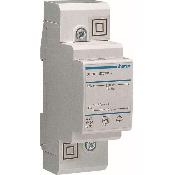 HAGER - Transformateur de sonnerie - 220V/8-12V - 4VA