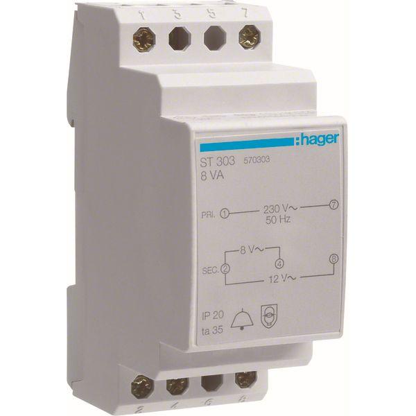 HAGER - Transformateur de sonnerie - 220V/8-12V - 8VA