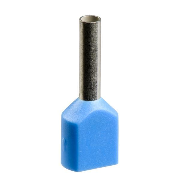 TELEMECANIQUE - dubbel aangegoten draadhulsje - formaat middellang - 0,75 mm² - blauw