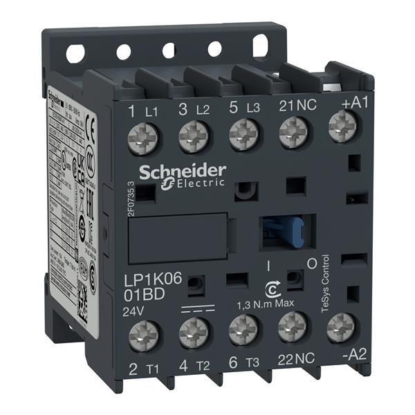 TELEMECANIQUE - contactor TeSys LP1-K - 3P - AC-3440 V 6 A - 24 V DC spoel