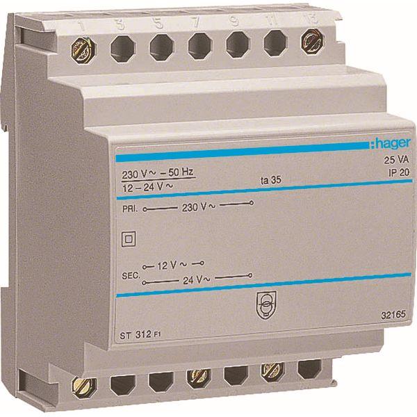 HAGER - Transformator - 220V/12-24V - 25VA - 4 M.