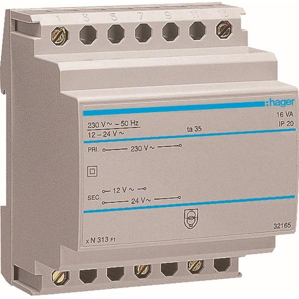 HAGER - Transformator - 220V/12-24V - 16VA - 4 M.