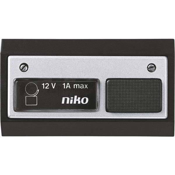 NIKO - Bouton sonnerie 12V AC 1A, avec lamp, noir aluminium