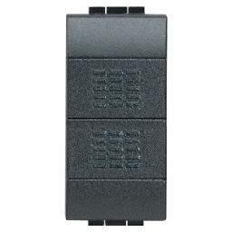BTICINO - Dubbele drukknop Living - 10 A - 250 V - tweepolig - NO + NO