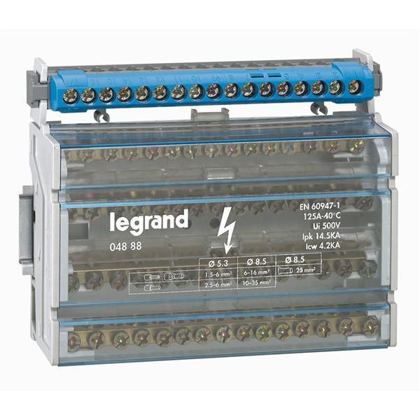 LEGRAND - Modulaire verdeelklem 4p 125A 15 klemmen - 14,5 kA - 8 mod