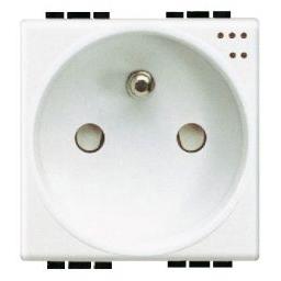 BTICINO - Stopcontact Light - 2P+A - 10/16A - 250V - met lampje - klemmen - 2 modules