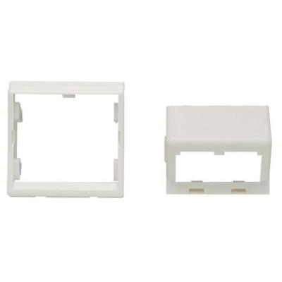 PANDUIT - Insert 45x45 incliné 45° sans clapets + cadre, blanc, pour 2 modules