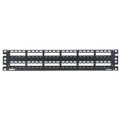 PANDUIT - 48-port all metal modular patch panel empty with strain relief bar 2U