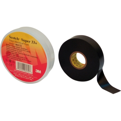 3M - Super 33+ Scotch TM elektrische isolatie tape PVC 25mm x 33m zwart