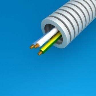 CABLEBEL - Preflex tube précâblé 16mm + VOB 3G1,5mm² bleu/blanc/vert-jaune rouleau 100m