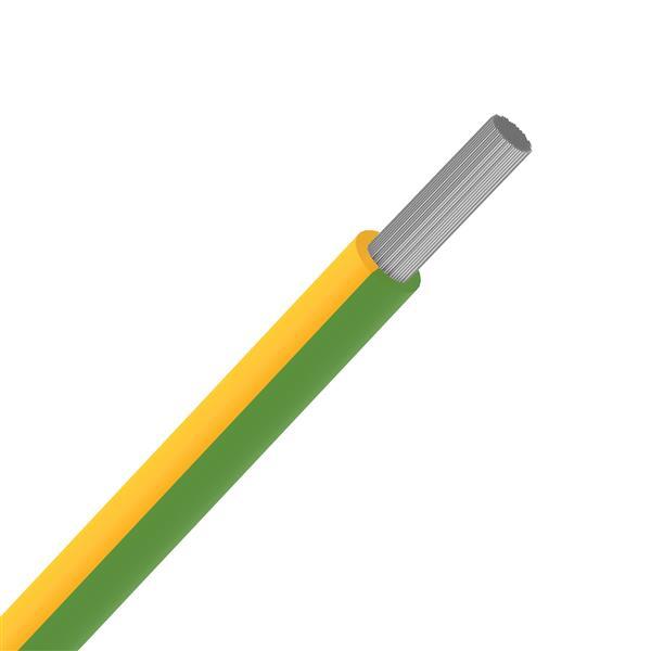 SPECIALE KABELS - Soepele draad silicone hittebestendig +180°C geel/groen SIAF 1,5mm² 100m