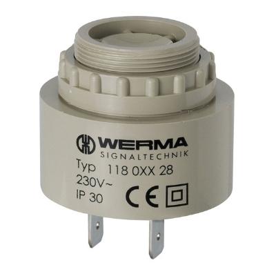 Werma - Zoemer 24V AC/DC - 20 mA, Continue en pulserende toon, 43 x 48 mm