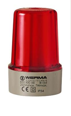 Werma - Feu permanent 12 - 240 V rouge, boîtier gris- montage sur base