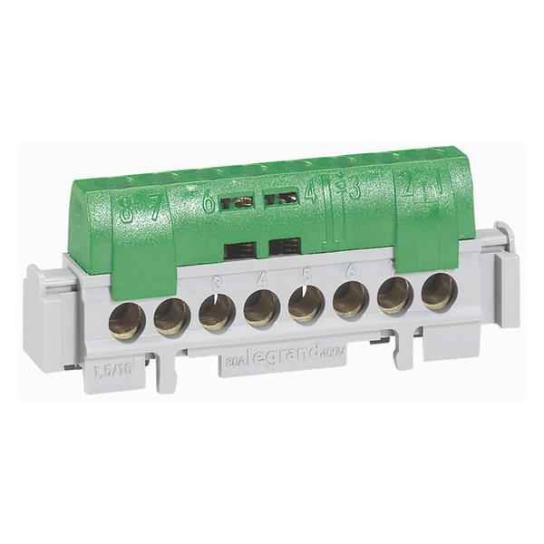 LEGRAND - Bornier de terre - l. 75 mm IP 2x - 8 x 16 mm² - vert