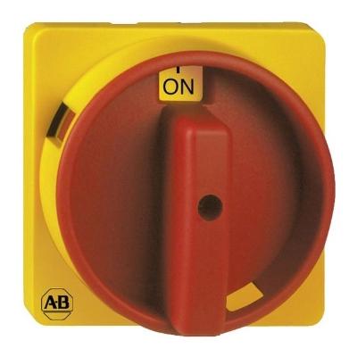ALLEN BRADLEY - Bedieningselement noodstop schakelaar, tekstplaat 0-I, 67x67mm, rood/geel