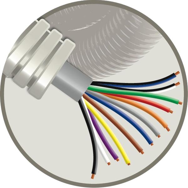 CABLEBEL - Elflex tube précâblé 20mm + câble de téléphonie SVV gris 12x0,8mm