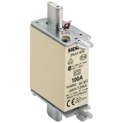 SIEMENS - Meszekering NH GR000 AC 500V/DC 250V 100A met niet-geÏsoleerde trekkers