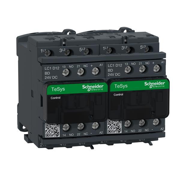 TELEMECANIQUE - Contacteur inverseur 12A AC-3 - 3P 1NO 1NC - 24V DC