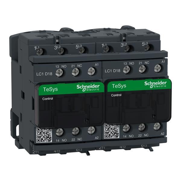 TELEMECANIQUE - Contacteur inverseur 18A AC-3 - 3P 1NO 1NC - 230V AC 50...60Hz
