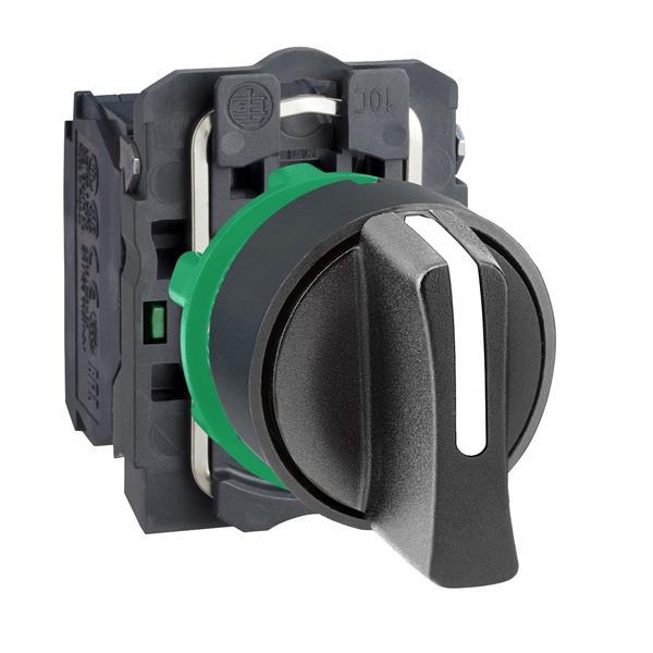 TELEMECANIQUE - keuzeschakelaar zwart Ø 22 - met hendel - 3 standen  - 2 NO