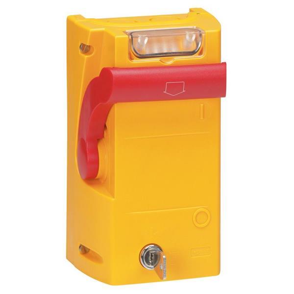 LEGRAND - Kastje met handgreep - kastje geel / handgreep rood - 2 LED-verklikkers
