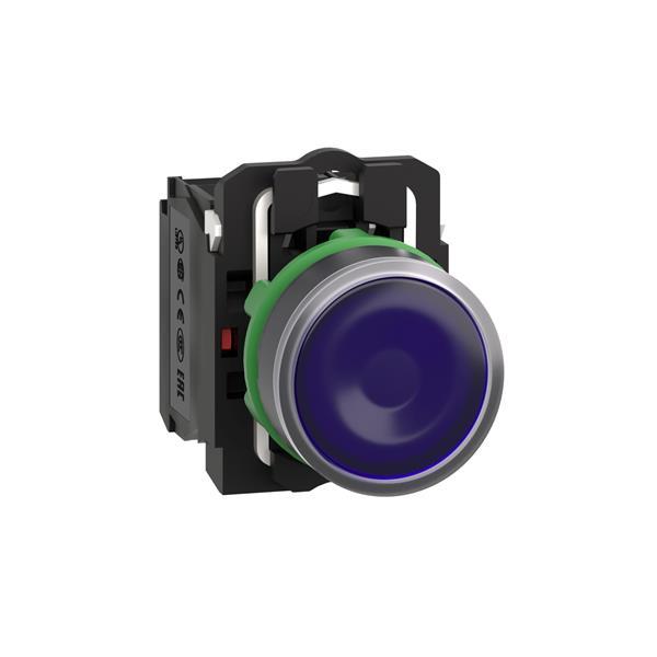 TELEMECANIQUE - bouton-poussoir lumineux bleu Ø 22 - à impulsion affleurant - 24 V - 1O+1F