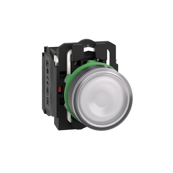 TELEMECANIQUE - bouton-poussoir lumineux blanc Ø 22 - à impulsion affleurant - 24 V - 1O+1F