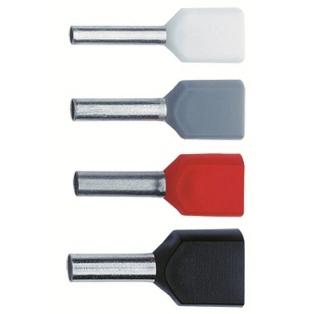 NUSSBAUMER - Douille terminale isolée rouge cuivre 2x1mm² 10mm pour 2 conducteurs