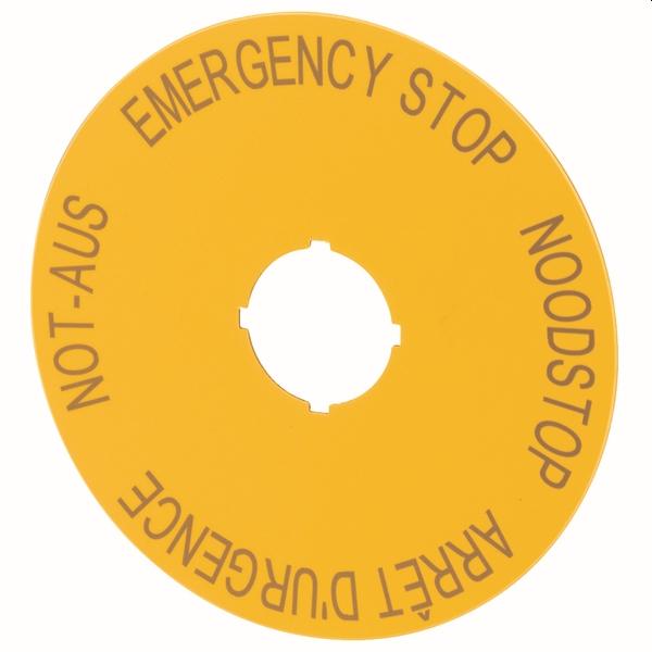 MOELLER - Plaquette arrêt d' urgence 4-langues