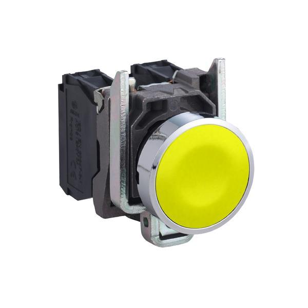 TELEMECANIQUE - Drukknop geel Ø22 - impulscontact verzonken - 1NO