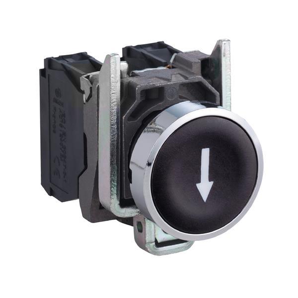 TELEMECANIQUE - Bouton-poussoir noir Ø22 - à impulsion affleurant - 1NO