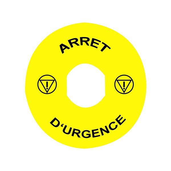 TELEMECANIQUE - Etiket - Ø22 - Ø90mm - ARRET D'URGENCE