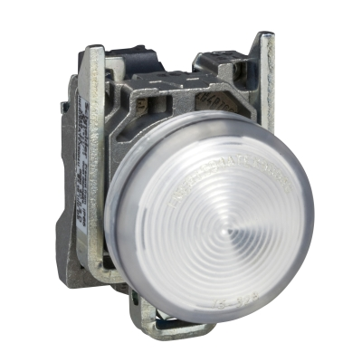 TELEMECANIQUE - Controlelamp rond Ø22 - IP65 - wit - fitting BA 9s - 250V - klemmen