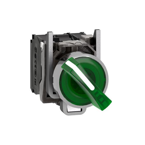 TELEMECANIQUE - Verlichte keuzeschakelaar groen Ø22 met hendel 2 standen 24V 1NC + 1NO