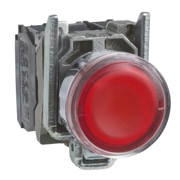 TELEMECANIQUE - Bouton-poussoir lumineux rouge Ø22 - à impulsion affleurant - 240V - 1O+1F
