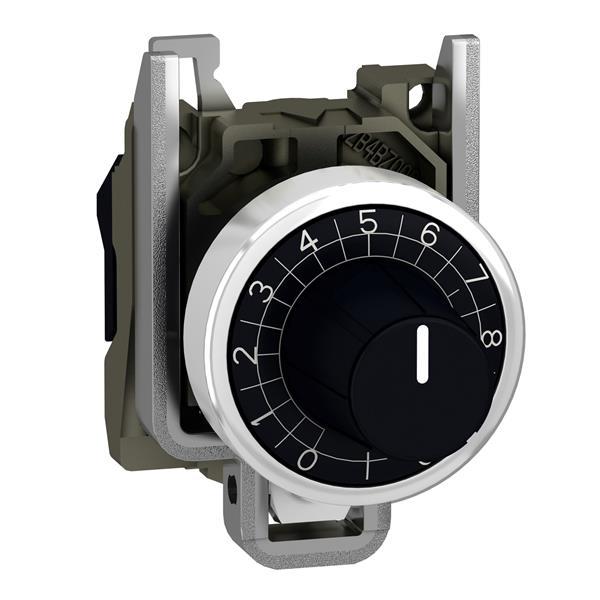 TELEMECANIQUE - Kop voor potentiometer geribbeld - Ø22 - as 6,35mm - zwart - zonder markering