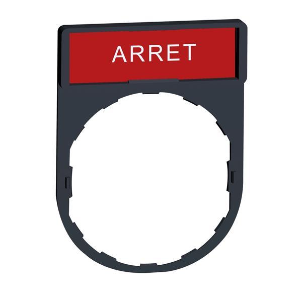 TELEMECANIQUE - porte étiquette 30 x 40 mm standard - Ø 22 - avec étiquette ARRET