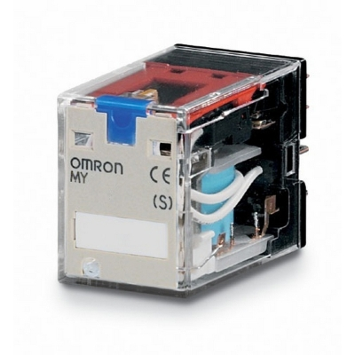 OMRON - Relais miniature, indicateur DEL, bouton de test, 24 Vc.c., 4 inverseurs, 5 A, m