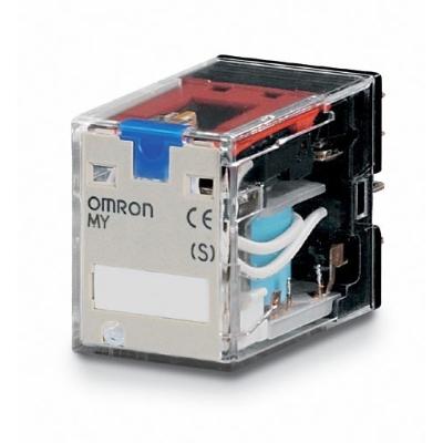 OMRON - Miniatuur relais, led-indicatie, testknop, 12 VDC, 2NO/NC, 10 A, voor aansluitv.