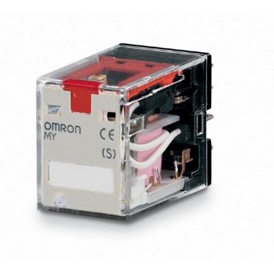 OMRON - Miniatuur relais, led-indicatie, testknop, 220/240 VAC, 2 x wissel, 10 A