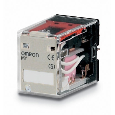 OMRON - Miniatuur relais, 200/240 VAC, 4 x wissel, 5 A, voor aansluitvoet