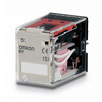 OMRON - Miniatuur relais, 12 VAC, 2 x wissel, 10 A, voor aansluitvoet