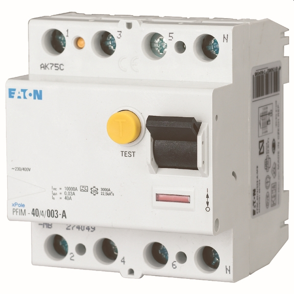 MOELLER - differentiel PFIM-63/4/003-A-MB, 4 poles, 63 A, 30 mA, Type A